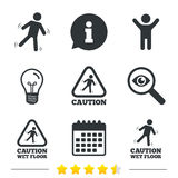 Caution wet floor icons. Human falling signs. Stock Photos
