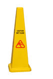 Caution wet floor isolated. Caution wet floor safety cone isolated on white background Royalty Free Stock Photography