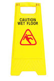 Caution wet floor. Isolated caution wet floor sign Stock Photography