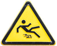 Caution wet floor sign. At a sidewalk Stock Photo