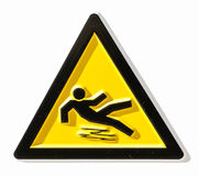 Caution wet floor sign. At a sidewalk Royalty Free Stock Images