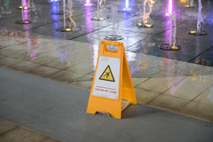 Caution wet floor sign Stock Photos