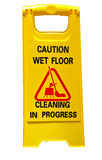 Caution wet floor sign cleaning in progress sign isolate on white background.  Royalty Free Stock Photos