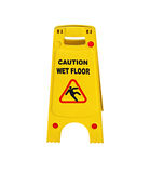 Caution wet floor sign isolated. Over white background Royalty Free Stock Image