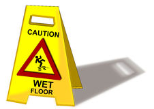 Caution Wet Floor. Sign isolated Stock Photos