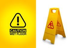 Caution! Wet Floor. Wet floor sign isolated on white background, with the precaution alert graphic Stock Image