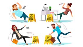 Caution wet floor sign vector. People slips on wet floor. situation in office. Danger sign. Clean Wet Floor. Isolated. Flat Cartoon Illustration Stock Images