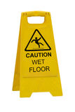 Caution wet floor sign. Yellow Caution slippery wet floor sign isolated on white background Stock Photo