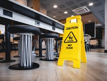 Free Caution Wet Floor Signage Stand Indoor Restaurant Cafe Safety Sign Stock Images - 157010494