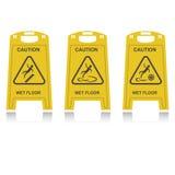 Caution wet floor. Three yellow signs Caution wet floor vector illustration