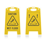 Caution wet floor two icons. Two yellow icons indicating the possibility of slipping Vector Illustration