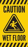 Caution wet floor. Vector illustration of the Caution wet floor Royalty Free Stock Images