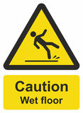 Caution wet floor. Vector sign isolated on white background stock illustration