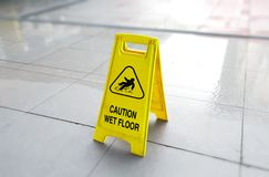 Caution wet floor Stock Photos