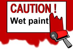 Caution - wet paint warning sign Royalty Free Stock Photography