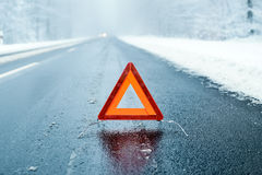 Caution - Winter Driving - Risk of Snow and Ice Royalty Free Stock Photos