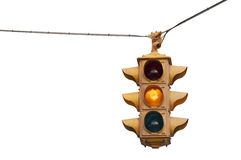 Caution yellow, Vintage traffic light Royalty Free Stock Photos