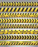 Caution yelow tape set Royalty Free Stock Images