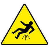 Caution you can fall Butt hurt. Yellow sign with falling man, trauma, vector illustration for print or website design Stock Images
