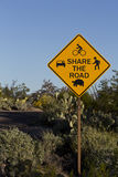 Cautionary Share the Road sign in Saguaro National Park. In bicycle friendly Saguaro National Park, a Share the Road sign warns that roadway must be shared by royalty free stock image