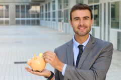 Cautious man with his funds properly secured.  Royalty Free Stock Photography
