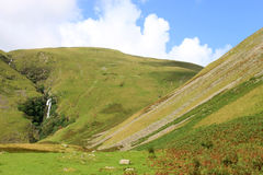 Cautley Spout waterfall near Sedbergh, Cumbria. View towards Cautley Spout waterfall near Sedbergh in Cumbria, United Kingdom. If you measure the total drop Royalty Free Stock Images