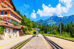 Caux cogwheel railway station in Switzerland stock photography