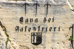 Cava dei Balestrieri - quarry crossbowmen in San Marino. The Rep Royalty Free Stock Photography