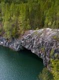 Cava di marmo nel parco di Ruskeala nella Repubblica di Carelia, Russia Fotografia Stock