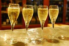 4 Cava glasses on a bar royalty free stock photo