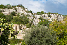 Cava Ispica. Canyon in Modica, Sicily, Italy royalty free stock images