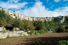 Cava Ispica. Canyon in Modica, Sicily, Italy royalty free stock photo