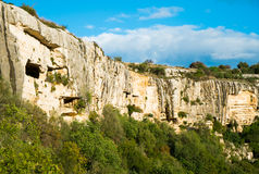 Cava Ispica. Canyon and necropolis in Modica, Sicily, Italy Stock Photos