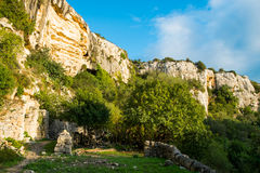 Cava Ispica. Canyon and necropolis in Modica, Sicily, Italy stock image