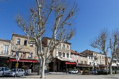 Cavaillon town center and restaurants. CAVAILLON, FRANCE, April 6, 2018 : Cavaillon center. The city is main town of the Regional and Natural Park of Luberon and Stock Photos