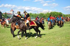 A cavalaria ataca com napoleon Imagens de Stock