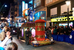 Cavalcade of the Magi parade. Torrevieja, Spain - January 5, 2017: Cavalcade of the Magi parade or The night of the Three Wise Men in downtown of Torrevieja. The Stock Photos