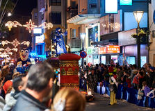 Cavalcade of the Magi parade. Torrevieja, Spain - January 5, 2017: Cavalcade of the Magi parade or The night of the Three Wise Men in downtown of Torrevieja. The Royalty Free Stock Photography