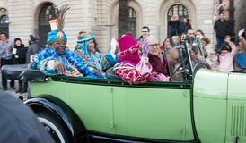 Cavalcade of Magi is a traditional parade of kings coaches  in all Spanish cities. BARCELONA, SPAIN - JANUARY 5, 2016: Cavalcade of Magi in Barcelo Stock Photo
