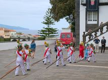 Cavalcade in Ribeira Grande, Sao Miguel island, Azores, Portugal. RIBEIRA GRANDE, AZORES, PORTUGAL - JUNE 29, 2017: Children at traditional cavalcade on central Stock Photography