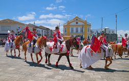 Cavalcade in Ribeira Grande, Sao Miguel island, Azores, Portugal. RIBEIRA GRANDE, AZORES, PORTUGAL - JUNE 29, 2017: Traditional cavalcade on central street of Royalty Free Stock Photography
