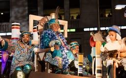 Cavalcade of Three Kings. BARCELONA, SPAIN –  JANUARY 5, 2017: Festive cavalcade of Three Wise Kings around streets of Barcelona Cabalgata de los Reyes Magos Royalty Free Stock Photography