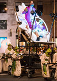 Cavalcade of Three Kings. BARCELONA, SPAIN –  JANUARY 5, 2017: Festive cavalcade of Three Wise Kings around streets of Barcelona Cabalgata de los Reyes Magos Stock Image