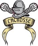 Cavaleiro Armor Lacrosse Stick Woodcut ilustração royalty free