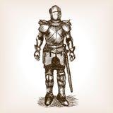 Cavaleiro Armour e vetor do esboço da espada ilustração stock