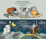 Cavaleiro Banner Set Imagens de Stock Royalty Free