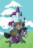 Cavaleiro bonito dos desenhos animados em um cavalo ilustração stock
