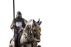Cavaleiro a cavalo Cavalo na armadura com o cavaleiro que guarda a lança Imagem de Stock