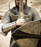 Cavaleiro com espada da luta imagens de stock royalty free