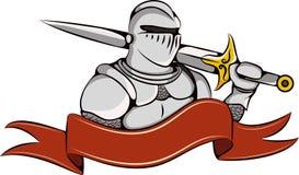 Cavaleiro com logotipo da espada e da fita Fotos de Stock